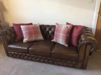 Leather Chesterfield Suite from Thomas Lloyd three seater settee/sofa and two chairs colour brown