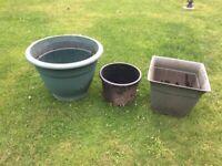 Large 55cm damaged pot plus two smaller pots