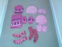 Bundle of 3 sets of 3-4 year winter hat & gloves with 2 pairs of non-slip socks