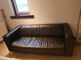 Leather sofa x 2 (black)