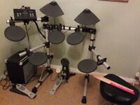 Yamaha DTX500 Electronic Drum Kit, plus Eastcoast drum amp and other accessories.