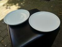 Two thick 9 inch white plates central London bargain