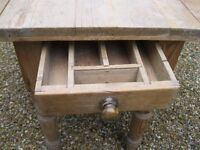 OLD PINE DROP LEAF TABLE . Delivery poss. ALSO VICTORIAN PEWS, CUPBOARDS, DRESSER & CHURCH CHAIRS.