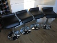 4 Black Faux Leather Gas Lift Bar Stools
