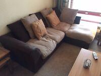 Small corner sofa & 2 swivel armchairs & footstool