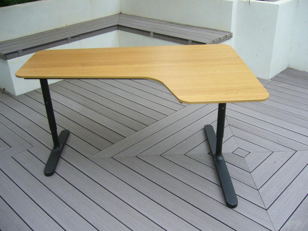 Ikea Bekant Desk Right Hand Return Oak Veneer Black