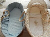 2 wicker moses baskets & 1 folding wooden stand