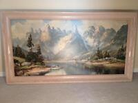 Vintage Lithograhic Print 1960's Signed Lewicke Wood Frame 24x44