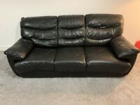 DFS BLACK LEATHER 3 SEATER LEATHER SOFA BED & 2 SEATER SOFA - MUST GO TODAY - CHEAP DELIVERY- £450