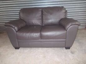 Brown Full Leather 2-seater Sofa