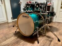 Mapex Meridian Birch 5 piece Drum Kit Shell Pack in Sapphire Fade Lacquer. Fully restored.