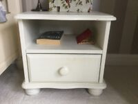 2 x ivory painted solid wood bedside table units