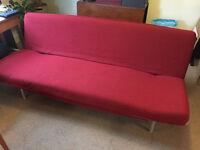 Ikea Metal Frame Red Sofabed/Futon Good Condition