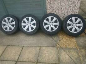 "Vw 16"" alloys and goodyear mud and snow tyres good tread 2x5mm 2x2-3mm nice condition no damage"