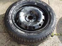 """NEW CONTINENTAL TYRE CONTIE CO CONTACT 185 60 15 ON A RENAULT 15"""" 4 STUD STEEL WHEEL"""