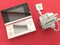 Nintendo 3DS Pink Plus Official Charger and Animal Crossing New Leaf