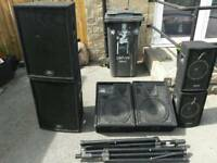 Peavey speakers with stands and Carlsbro wedge monitors