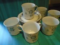 Vintage Mitterteich-Bavaria-Germany-Fine-Bone-China-Tea Set with Forget-Me-Knot pattern