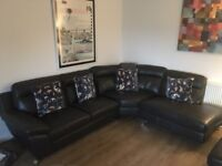 GREAT CONDITION Leather Corner Sofa (+ optional footstall and chair) - collection only