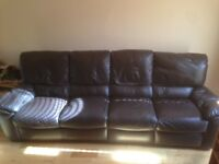 4 Seater Reclining Leather Sofa