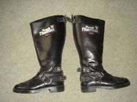 Frank Thomas traditional black leather motorcycle / motorbike boots. Size 6