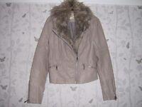 River Island beige Leather look jacket size 12