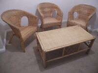Set of wicker chairs and cafe table in good used condition