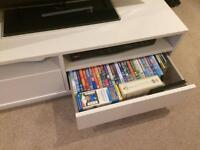 White TV stand with storage drawers