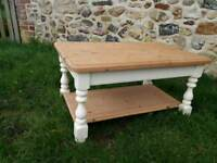 Pine two tier coffee table with cream painted frame