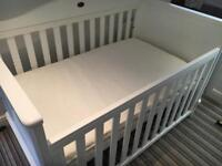 Boori drop side cotbed and mattress (like new)