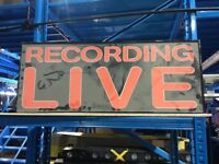 Recording live large sign
