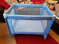 Blue Red kite travel cot for sale