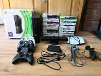 Xbox 360 Slim 250gb Console, 37 Games, 3 Rechargeable Controllers, Dock, Chatpad etc