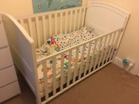 BabiesRus Henley Cotbed with Mothercare mattress. Three height positions.