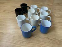 10x white, black, blue, PLAIN MUGS tea coffee NO PATTERN OR DESIGN simple basic
