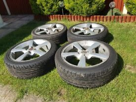 """Wolfrace alloy wheels 17"""" with good tyres 4x100PCD"""