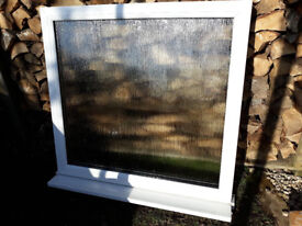 White UPVC fixed & obscured window - dimensions 94.5cm x 88cm