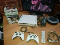 Xbox 360 2 wireless controllers 17 games