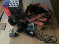 Canon EOS 400D DSLR camera bundle including 2 lenses and, battery grip, bag etc