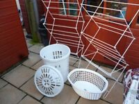 laundry baskets x 2,clothes airers x 2