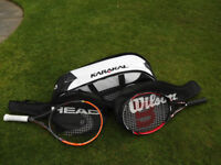 Two adult tennis rackets and bag