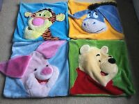 4 Winnie the Pooh 3D cushion covers and 3 new cushions