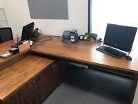 Office/Reception Desk with low level storage unit
