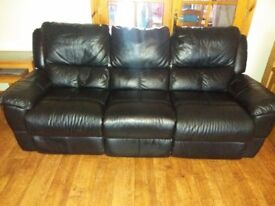 Black 3 seater recliner.