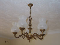Antique Brass 5 arm Chandelier and 2 matching wall lights