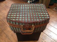 Wicker picnic hamper with full set of plates and cutlery