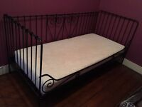 Single Daybed: Ikea Meldal, black frame with memory foam mattress, excellent condition, £70. SE6