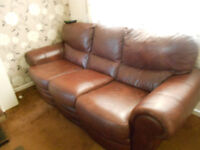 Brown Leather 3 Seater Settee & 2 Chairs.