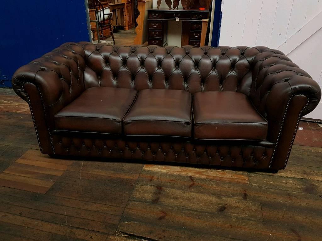 Dark Brown Saxon Chesterfield Sofa In Barwell