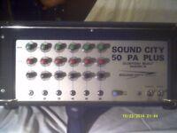 SOUND CITY 50 PA PLUS , CUSTOM BUILT MK 4 AMPLIFIER . 6 Input Channels . +++++